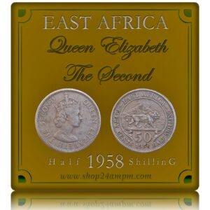 1958 50 Cents British Queen Elizabeth East Africa Half Shilling