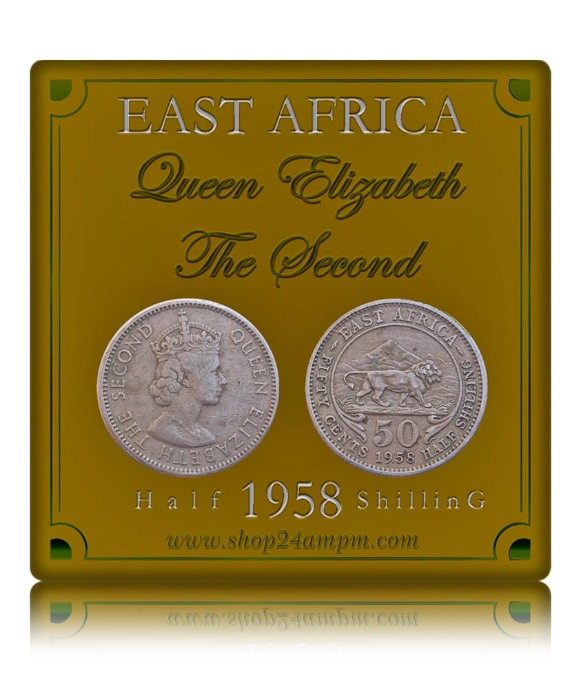 1958 50 Cents British Queen Elizabeth East Africa Half Shilling