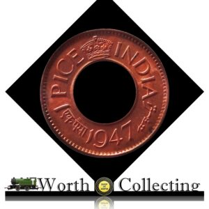 1947 1 Pice Hole Coin British India King George VI Calcutta Mint – AUNC