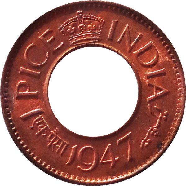 1947 1 Pice Hole Coin British India King George VI Calcutta Mint – AUNC