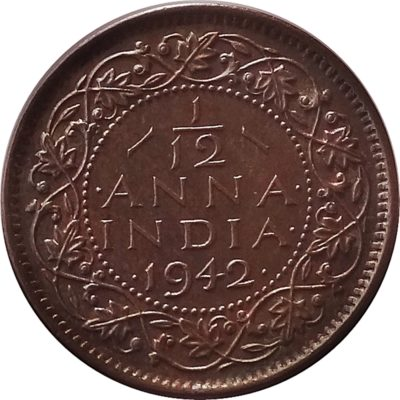1942  1/12 Twelve Anna British India King George VI - Best Buy