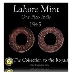 1945 1 Pice Hole Coin British India King George VI Lahore Mint - AUNC