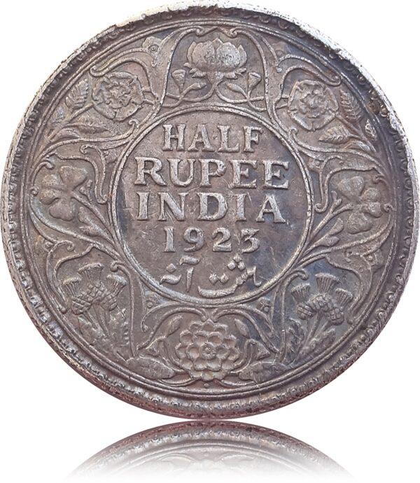 1923 1/2 Half Rupee British India King George V Bombay Mint - RARE