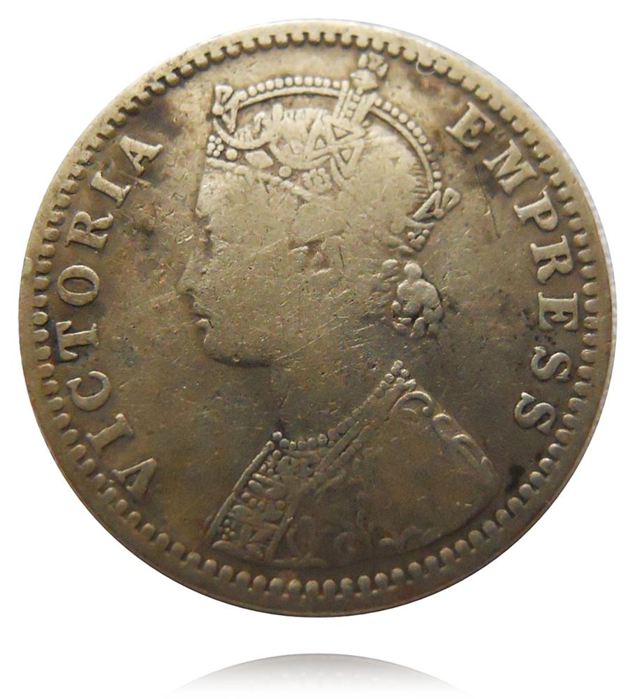 1898 1/4 Quarter Rupee British India Queen Victoria Empress Bombay Mint