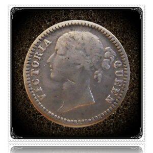 1840 1/4 Quarter Rupee Silver Coin British India Queen Victoria – RARE