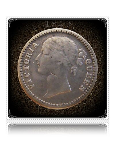 1840  1/4 Quarter Rupee Silver Coin British India Queen Victoria – RARE