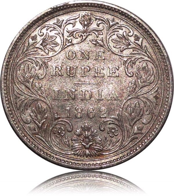 1862 1 Rupee British India Queen Victoria 7 dots A2 07 Best Buy - Worth Collecting