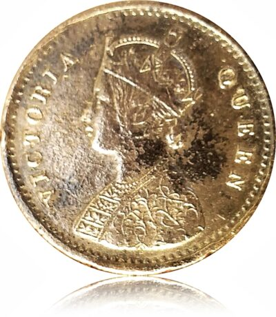 1875 2 Annas British India Queen Victoria Best Silver with Beauty