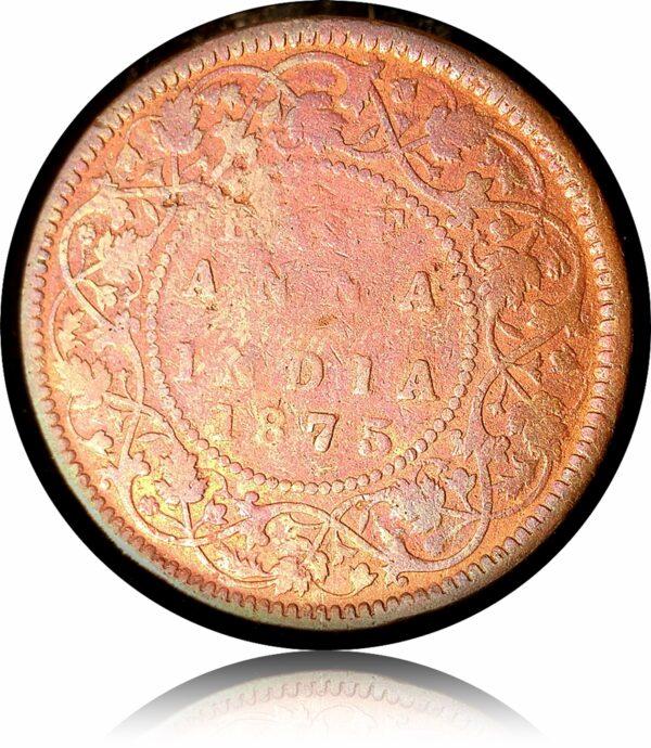 1875 1/2 Half Anna British India - Rare - Victoria Queen - Rare