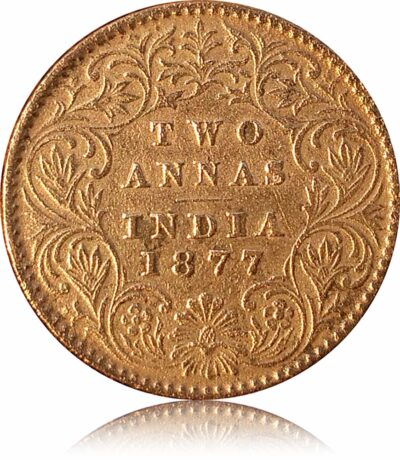 1877 2 Annas - British India Silver Victoria Empress - Best Buy