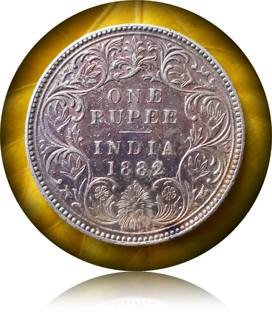 1882 British India Queen Victoria 1 Rupee Silver Coin