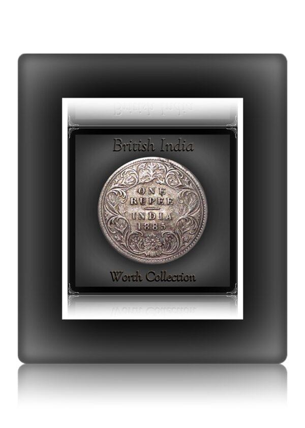 1885 British India 1 Rupee Silver Coin Queen Victoria Bombay Mint
