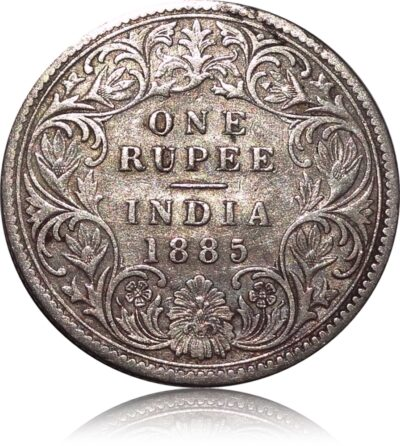 1885 British India 1 Rupee Silver Coin Queen Victoria Bombay Mint