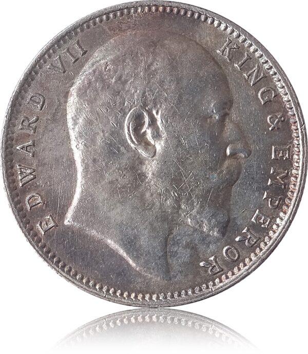 1907 1 Rupee Silver Coin British India King Edward VII Bombay Mint – RARE