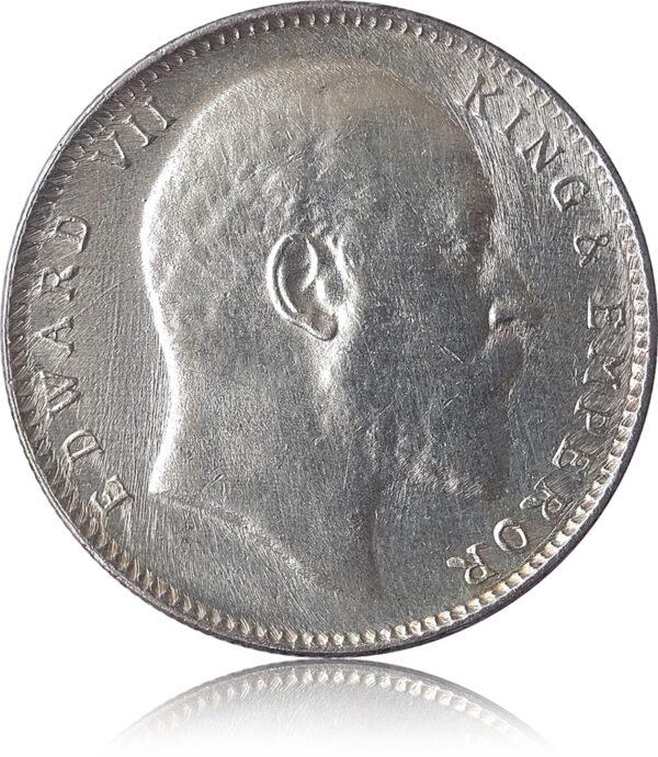 1907 1 Rupee Silver Coin British India King Edward VII Calcutta Mint – RARE
