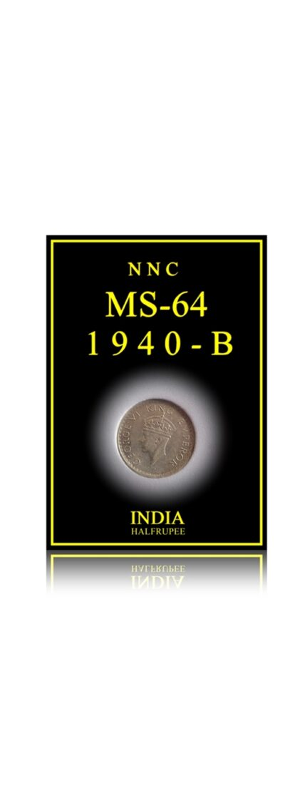 1940  1/2 Half Rupee British India King George VI -MS-64 Certified Silver Coin Bombay Mint
