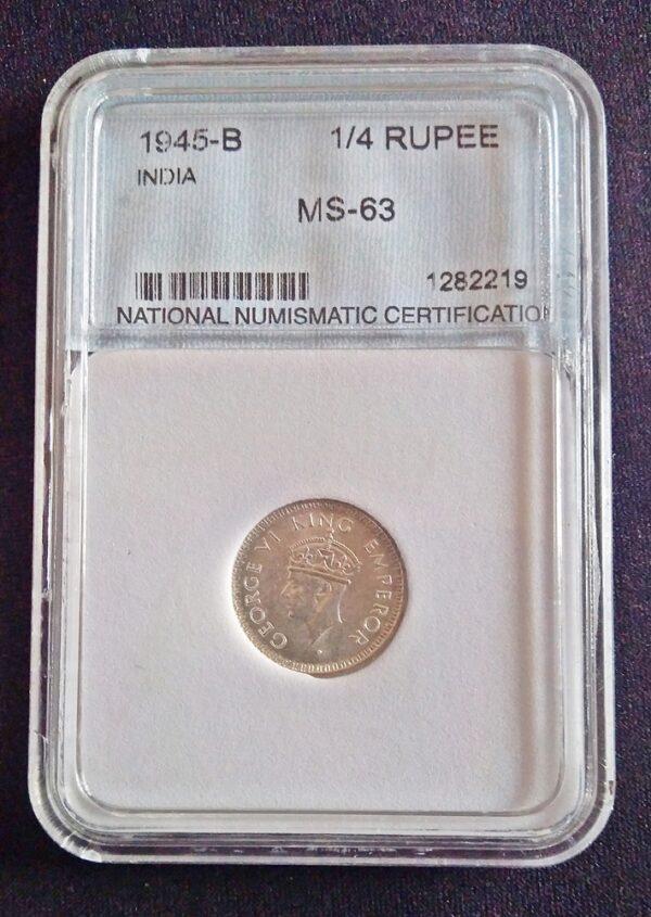 1945 1/4 Quarter Rupee King George VI -Bombay Mint