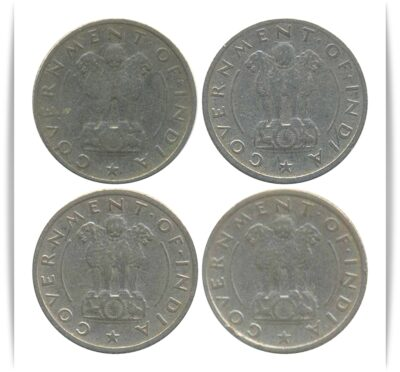 1950 1/4 Quarter Rupee Corn Sheaf  Nickel Coin Calcutta & Bombay Mint