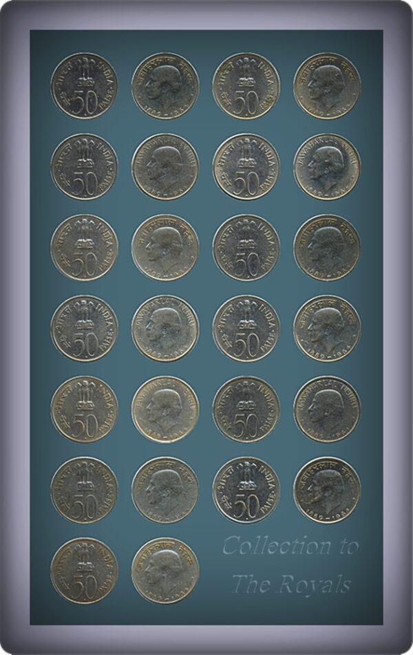1964 50 Paise Commemorative Coin – JAWAHARLAL NEHRU Hindi & English Legend