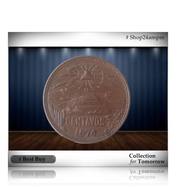 1974 Mexico 20 Centavos Copper Coin - Best Buy