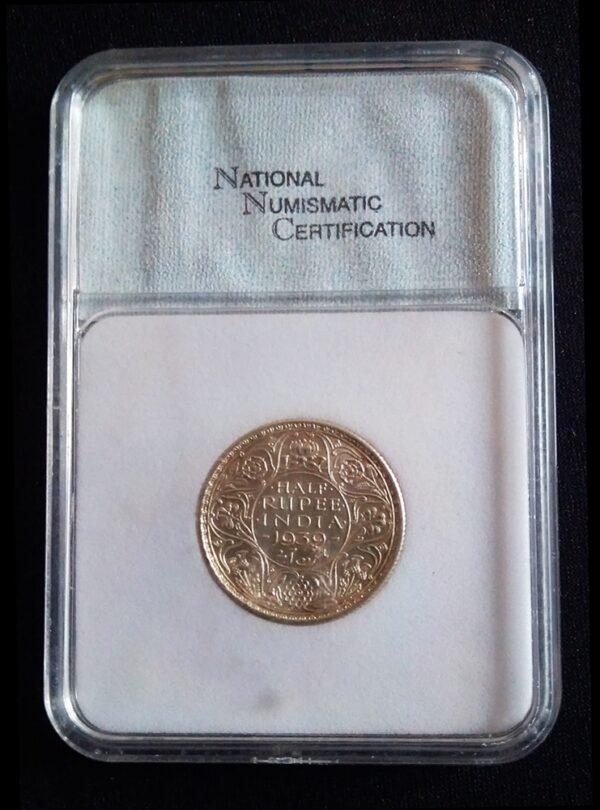 1939 1/2 Half Rupee British India King George VI -MS-64 Certified Silver Coin Calcutta Mint