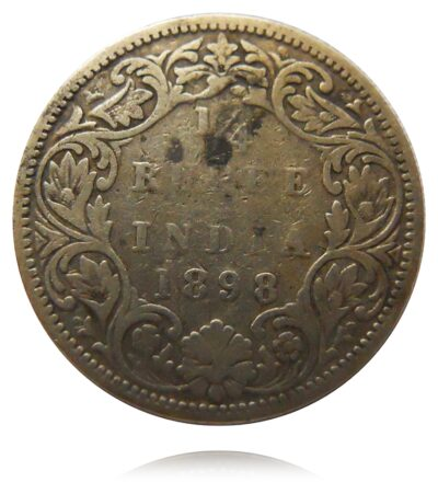 1898 1/4 Quarter Rupee British India Queen Victoria Empress Bombay Mint