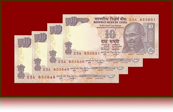 10 Rupee UNC Notes Series Collection Get 4 Notes