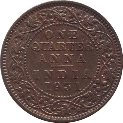 1931 1/4 Quarter Anna – British India King George V Calcutta Mint