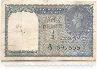 1940 1 Rupee Note C E Jones Green British India Fancy ending number - Best Collection Found