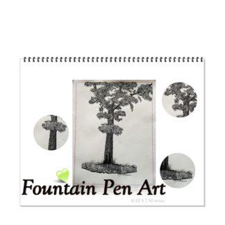 Tree with Birds Fountain Pen Art Drawings