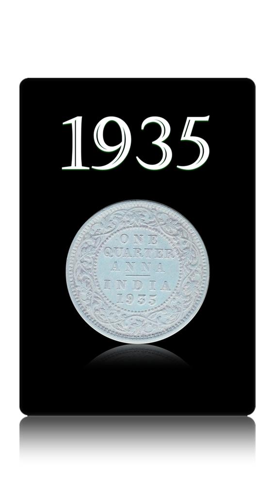1935 1/4 Quarter Anna – British India King George V Calcutta Mint