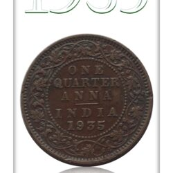 1935  1/4 Quarter Anna – British India King George V Calcutta Mint