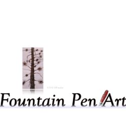 Fountain Pen Drawing Art  Beach Tree with Bird Moto Save Earth & Enjoy