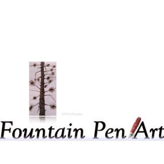 Fountain Pen Drawing Art Beach Tree with Bird Moto Save Earth & Enjoy