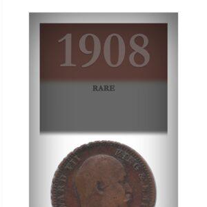 Rim Edge Error coin 1908 1/4 Quarter Anna British India King Edward VII Calcutta Mint