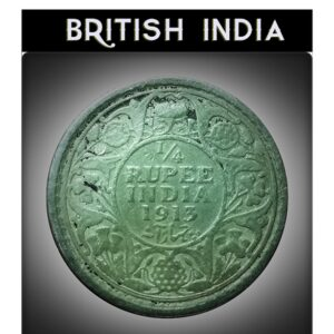 1913 1/4 Quarter Rupee King George V Bombay Mint - Impede Coin - Low Class - Rare Coin