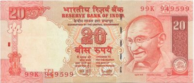 Orange Old Note 20 Rupee Unc Note 'E' Inset Sig by  Y V Reddy - Best Buy