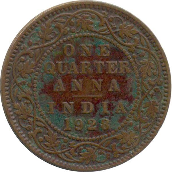 1928 1/4 Quarter Anna British India King George V Bombay Mint - Best Buy