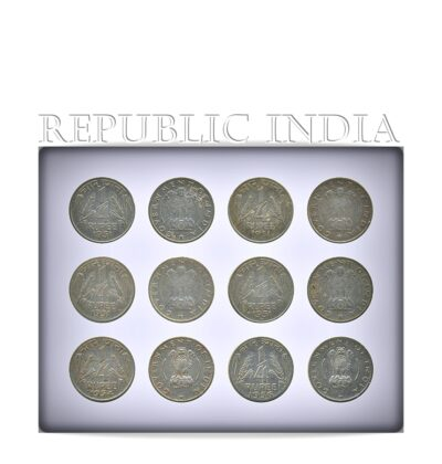 1951 1954 1956 1/4 Rupee Indian Coins - Char Anna - in Devanagari