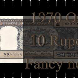 "1970 Old 10 Rupee Fancy Note Sign by B. N. Adarkar Ending Number ""5555"" - Worth Buy"