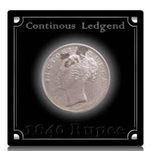 1840 1 Rupee Silver Coin Queen Victoria Continuous Legend 19 Berries - RARE
