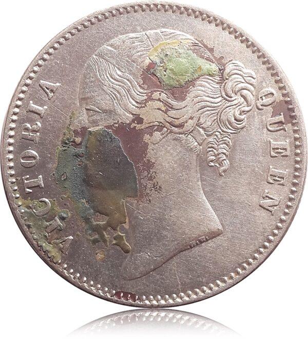 1840 1 Rupee Silver Coin Divided Legend w.w. Queen Victoria - RARE