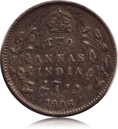 1906 2 Annas silver coin British India King Edward VII Calcutta Mint - Best Buy