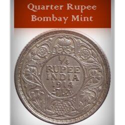 1914 1 /4 Quarter Rupee Silver Coin