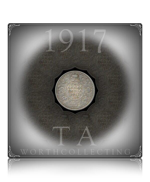 1917 2 Annas British India King George V Calcutta Mint