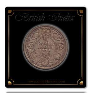 1936 1/4 Quarter RupeeSilver Coin British India King George V Calcutta Mint - Best Buy