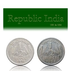 1951 1954 1/2 Half Rupee Republic India Corn Sheaf Coin