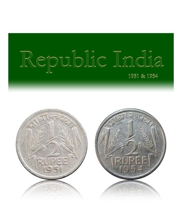 1951 1954 1/2 Half Rupee Republic India Corn Sheaf Coin