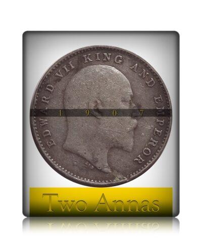 1907 2 Annas Silver Coin King Edward VII Calcutta Mint - RARE COIN