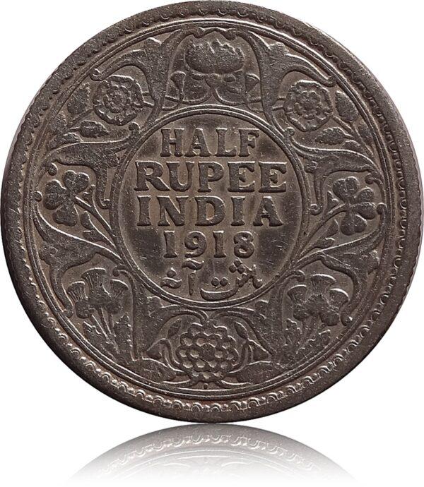 1918 1/2 Half Rupee Silver Coin British India King George V Bombay Mint - RARE
